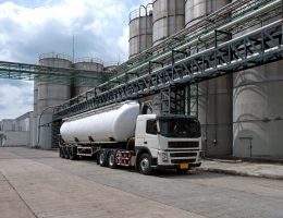 Tanker, Truck Delivery Danger Chemical in Petrochemical Plant in Asia